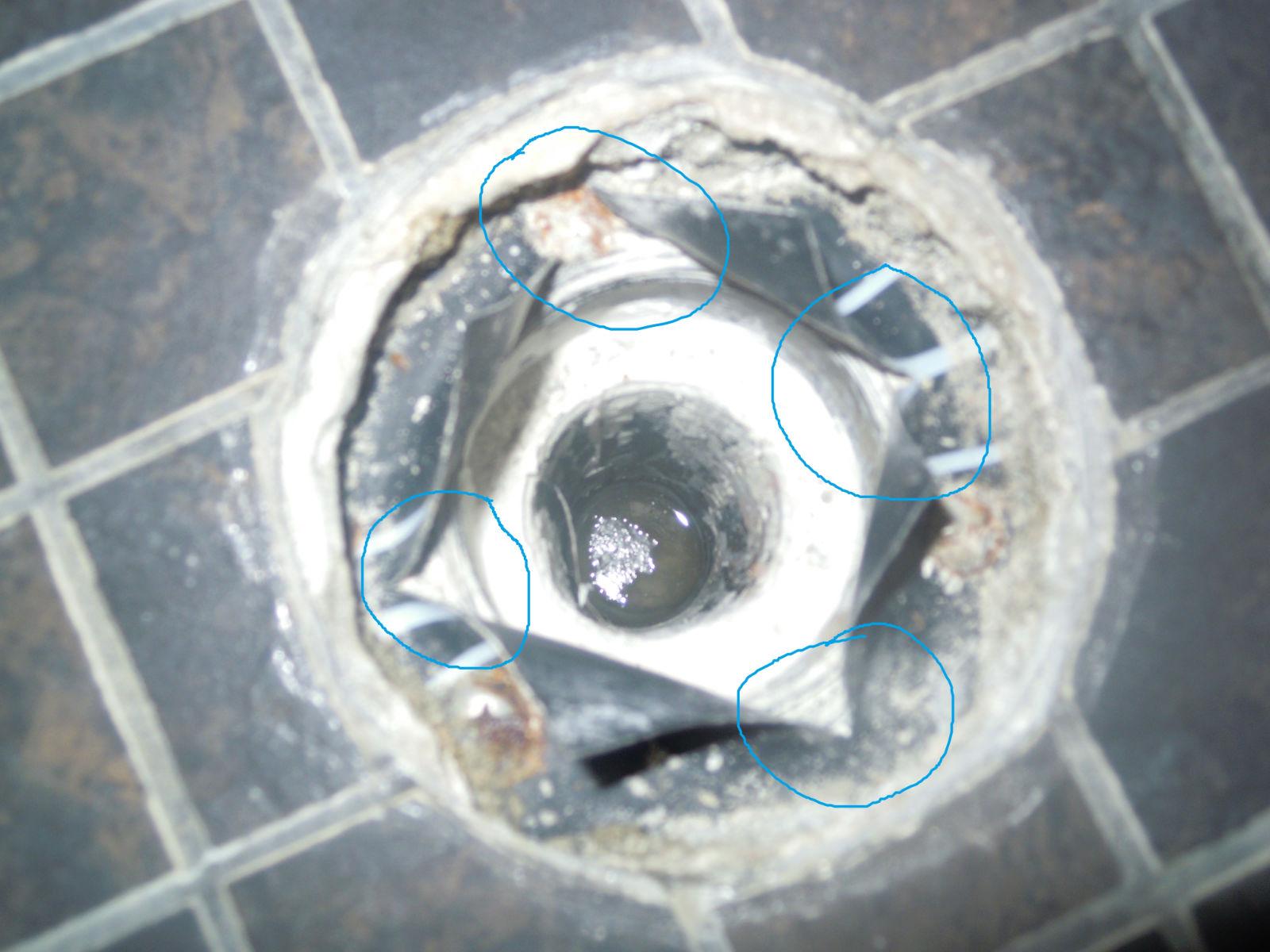 tile shower drain has leaked